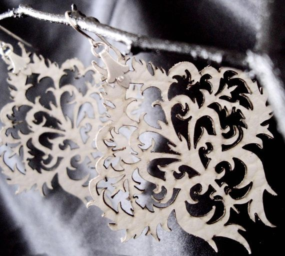 White Laser Cut Leather and Silver Earrings  by SkadiJewellery, $35.00