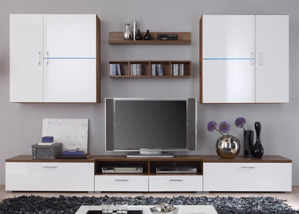 Wohnwand Anbauwand Wohnzimmer Schrank Thunder Kern Nussbaum Weiß - schrank für wohnzimmer