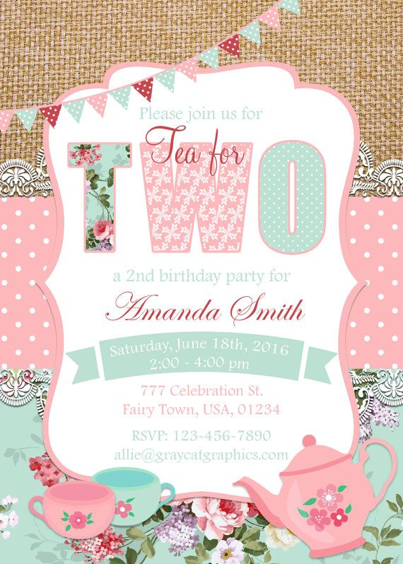 Tea For Two Invitation Party 2nd Birthday By GrayCatGraphics