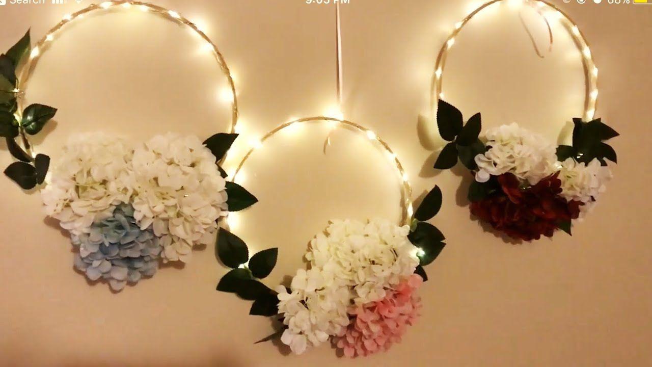 Diy Embroidery Hoop Wreath Diy Led Floral Hoop Diy Decor Diy Wreath Diy Hoop Decoration Youtube Lighted Wreath Diy Diy Wreath Lighted Wreaths