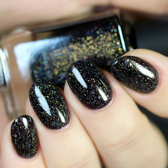 Silhouette - Rich Black and Gold Holographic Nail Polish by ILNP