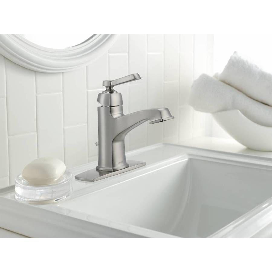 Moen Boardwalk Spot Resist Brushed Nickel 1 Handle Single Hole Watersense Bathroom Sink Faucet