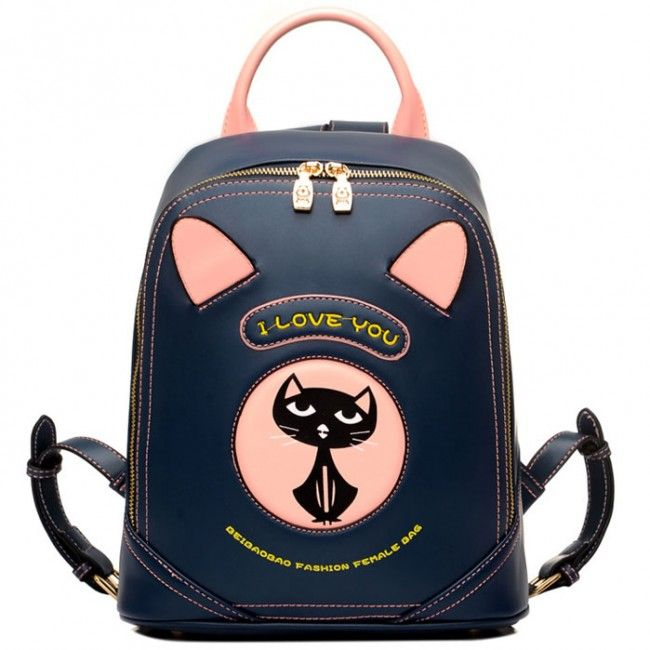 2017 New Style Cartoon Cat Printed Drawstring Bag Backpack Rucksack Shoulder Bag