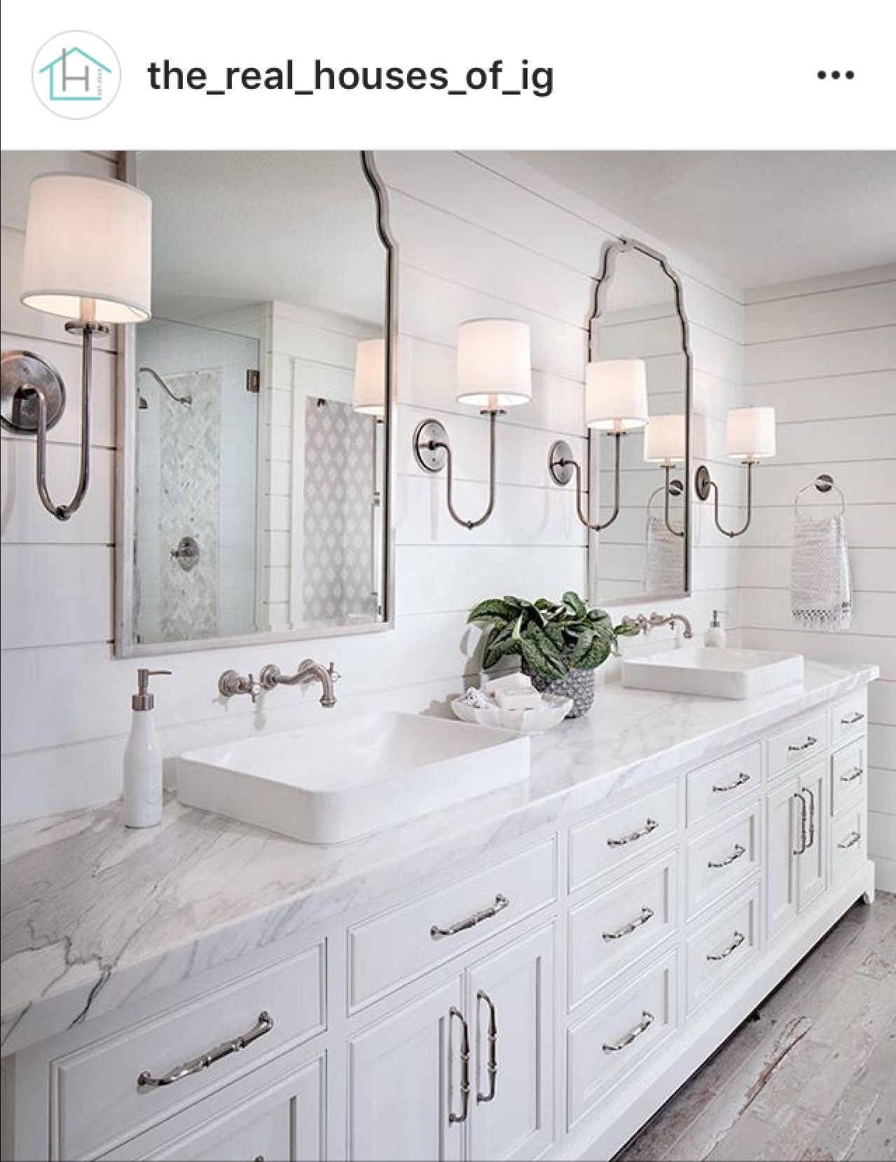Shiplap Behind Mirrors, Carrara Counters, Wall Mount Faucet, 2 Cool Mirrors