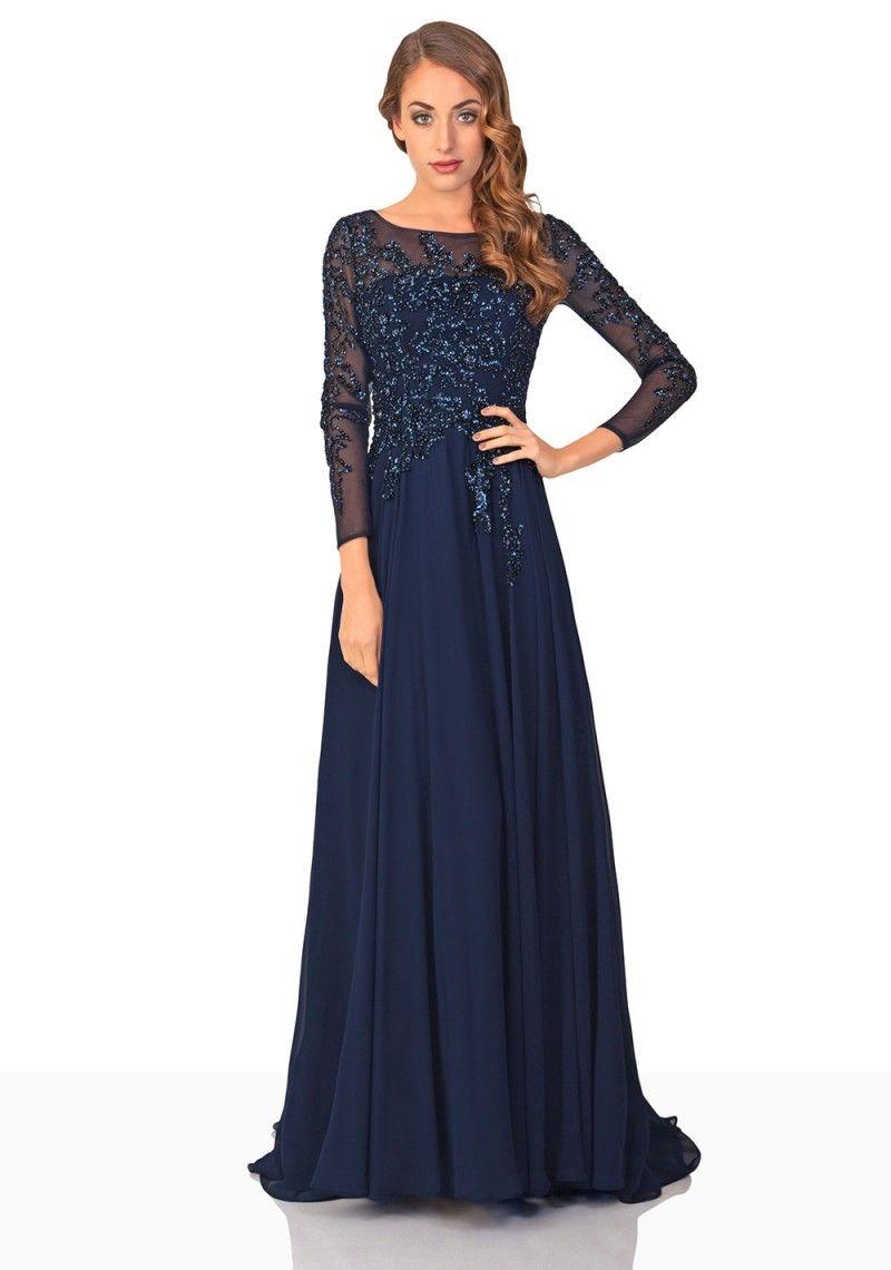 Abendkleid aus Chiffon in Dunkelblau mit langen Ärmeln  Kleider
