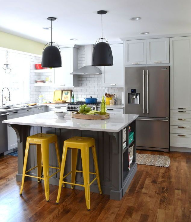 White With Pops Of Color Kitchen Makeover Shelving Ideas