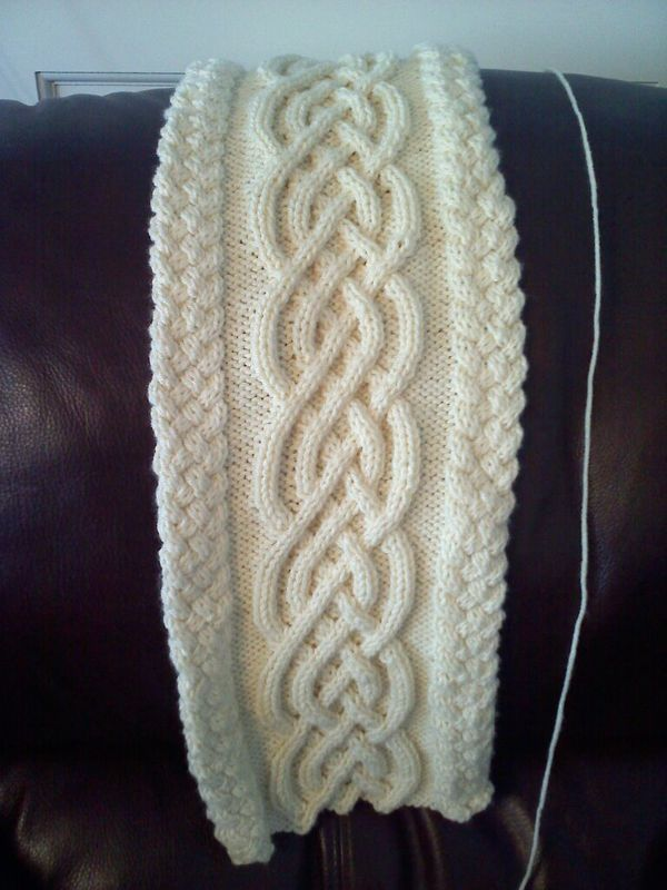 Aran Knit Honeycomb Edges Superimposed Double Open Cable