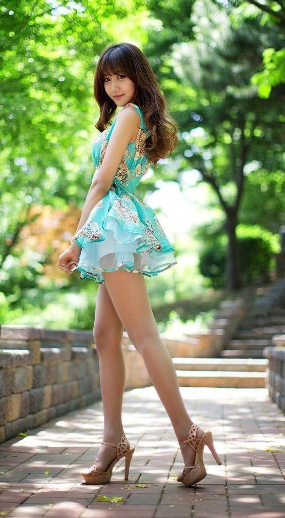 Asian teens in heels