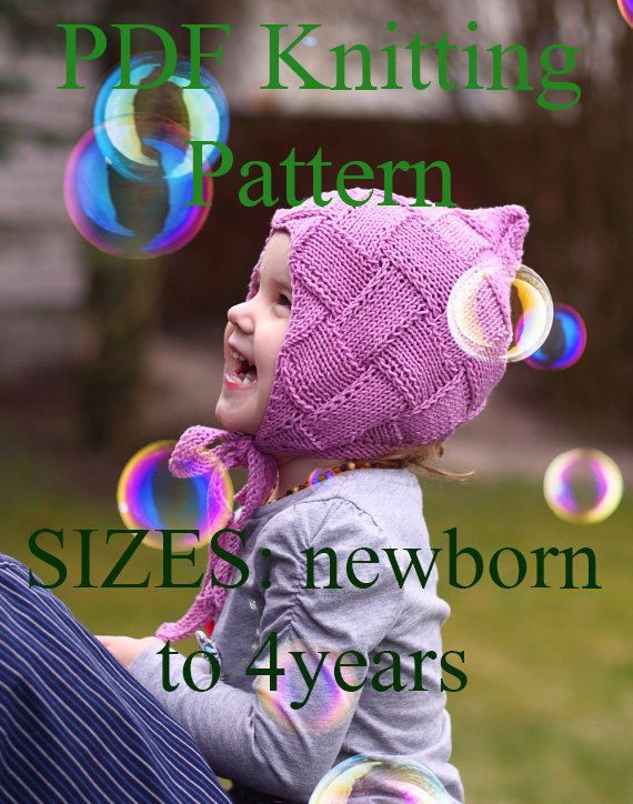 PDF KNITTING PATTERN knit Pixie bonnet by MyCherryBlossomKnits