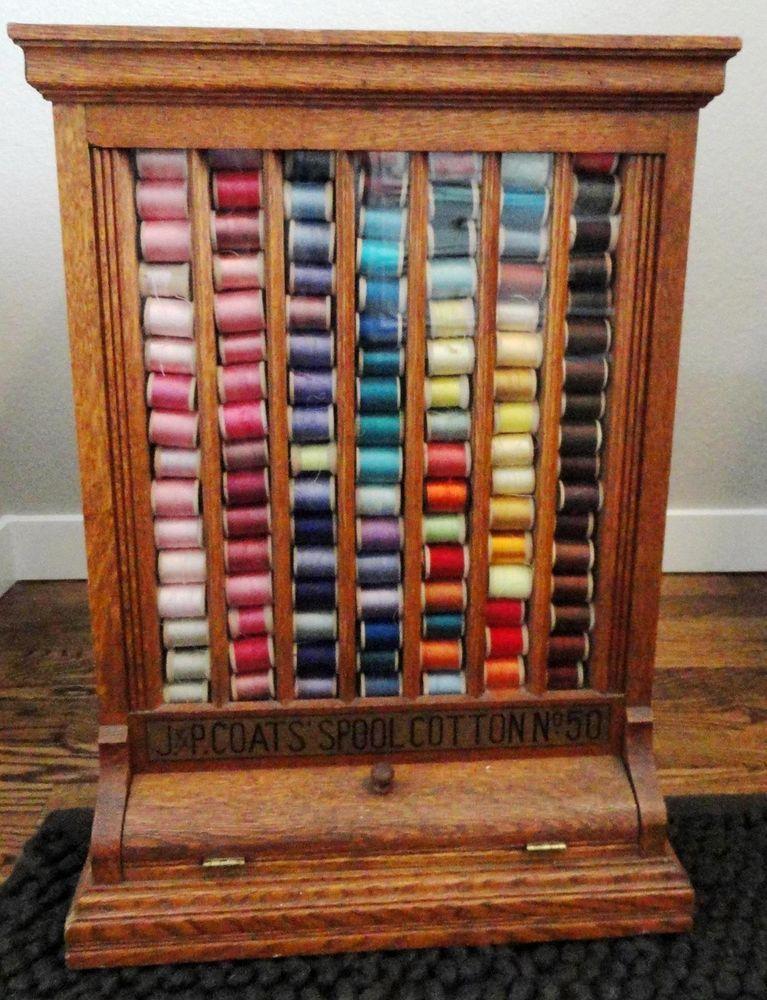 Antique Oak J U0026 P Coats Spool Cotton Thread Store Display Case Cabinet Craft  Storage Furniture