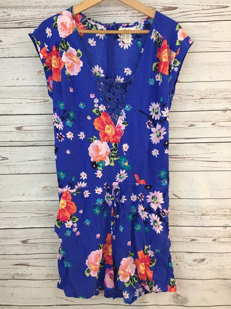 1787d441879 Women s Matilda Jane Hello Lovely Out and About Romper Blue Floral Size M  Medium