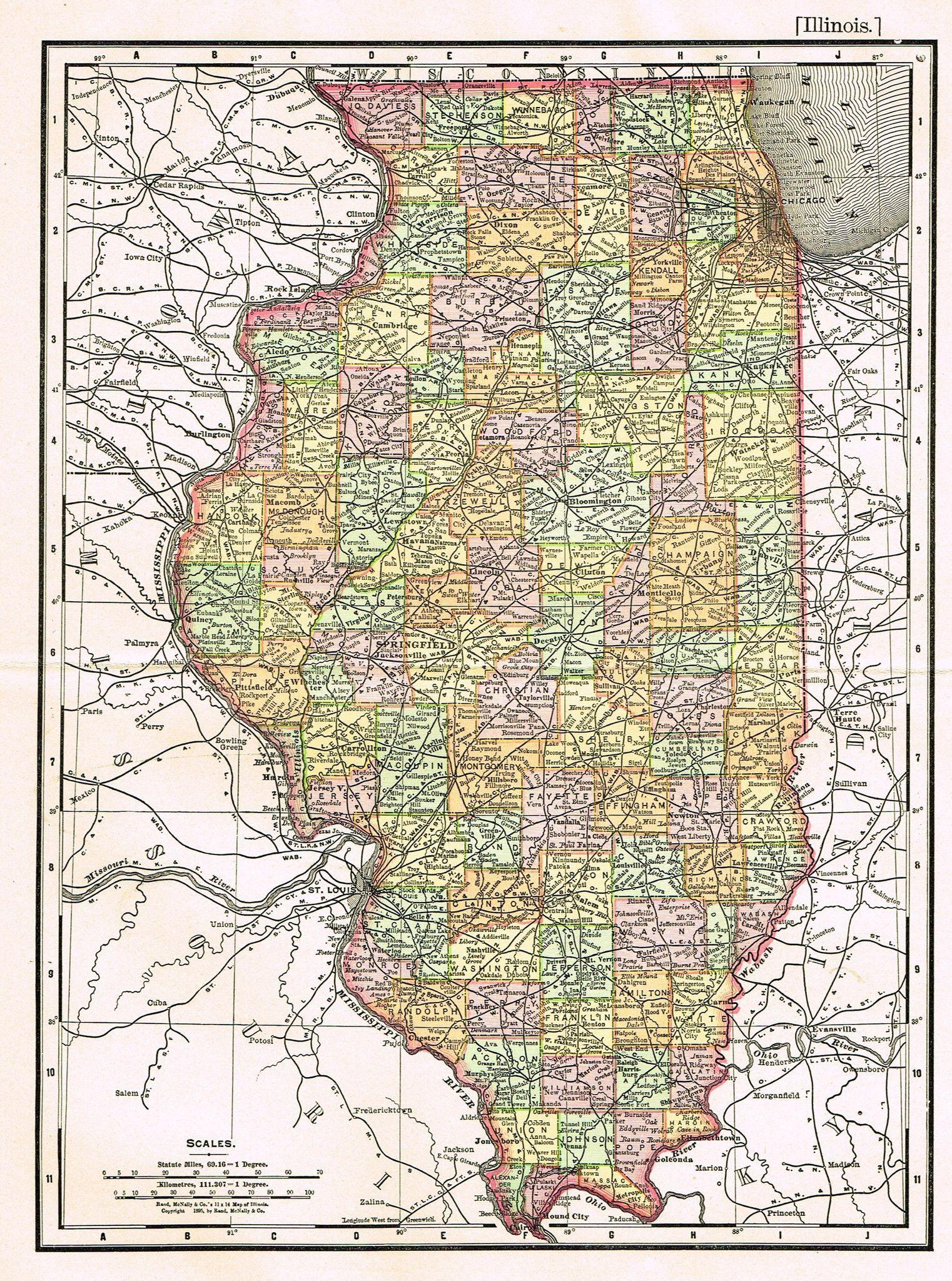 Rand mcnallys atlas map illinois chromo lithograph 1895 gumiabroncs Image collections