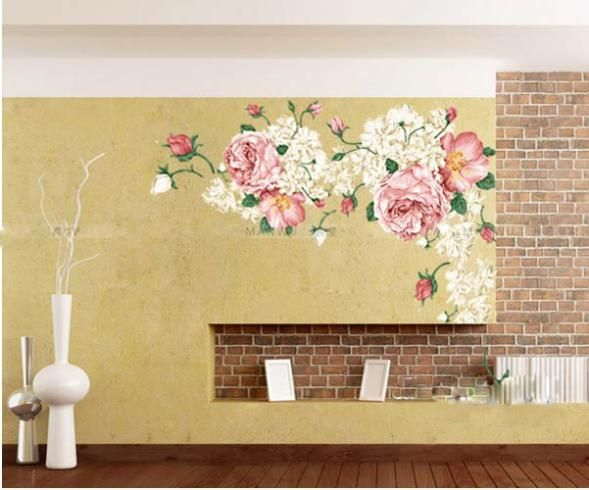 Un Grand luxe énorme pivoine fleurs Wall Sticker Art Mural Decor ...