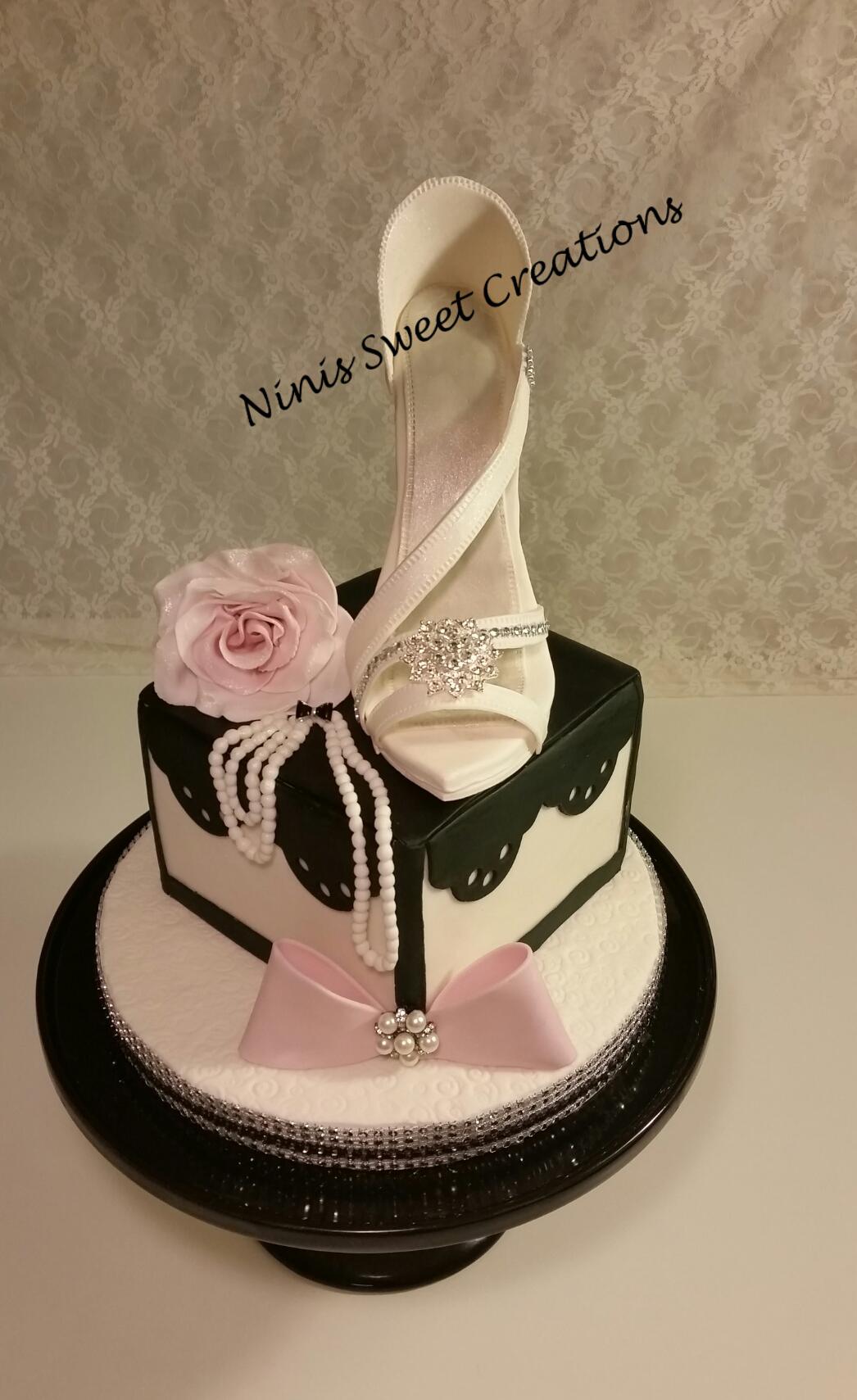 Elegant White Fondant Shoe Cake Ninis Sweet Creations