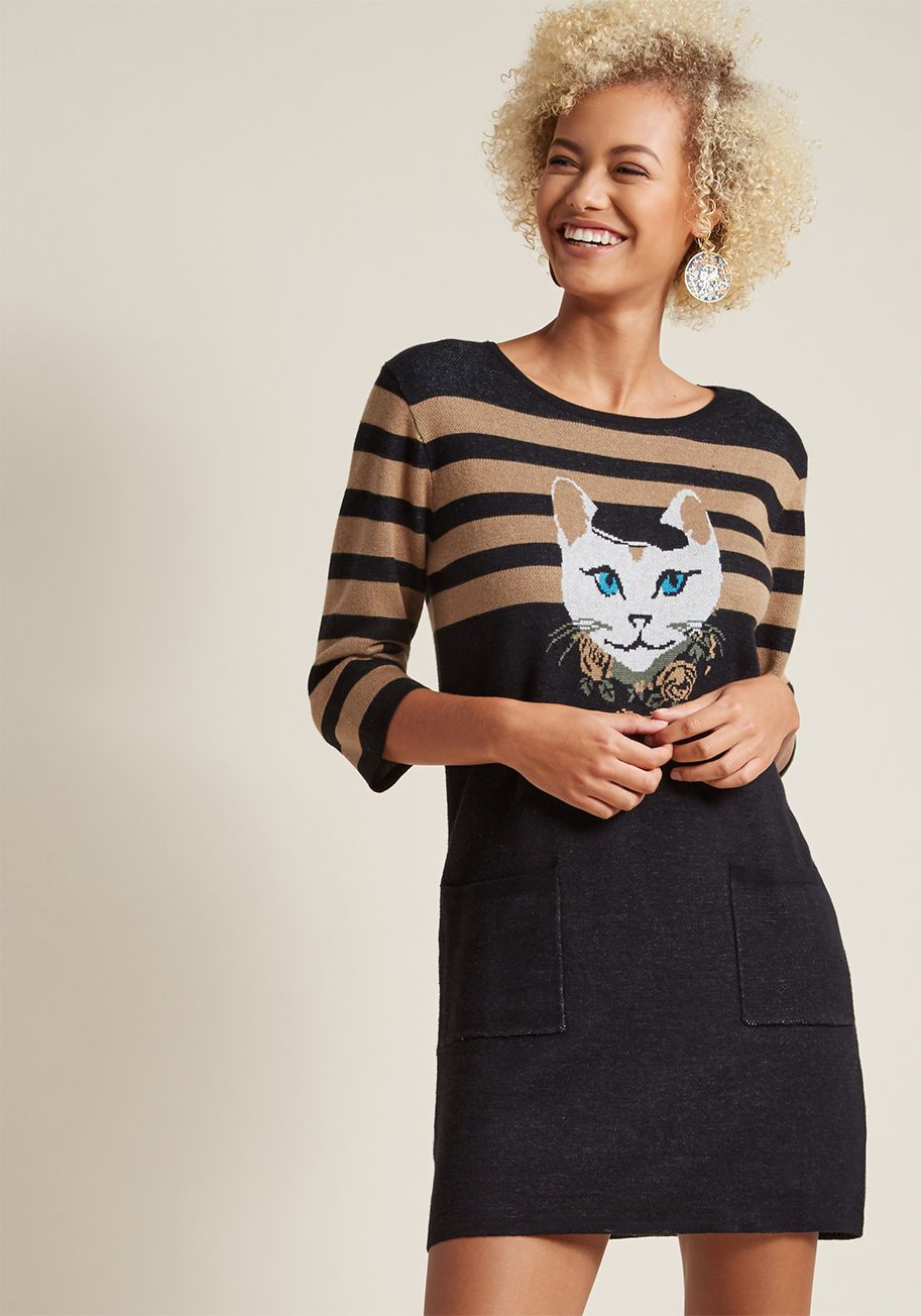 33ae41ac56 Well-Styled Feline Sweater Dress