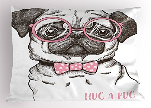 Pug Pillow Sham By Ambesonne Cute Pug With Pink Bow Tie Oversized