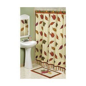 New Fall Leaves Shower Curtain Harvest Autumn Seasonal Bathroom
