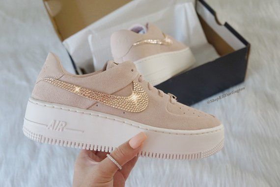 Nike Air Force 1 Sage Low + Hand Customized Swarovski Crystals Black