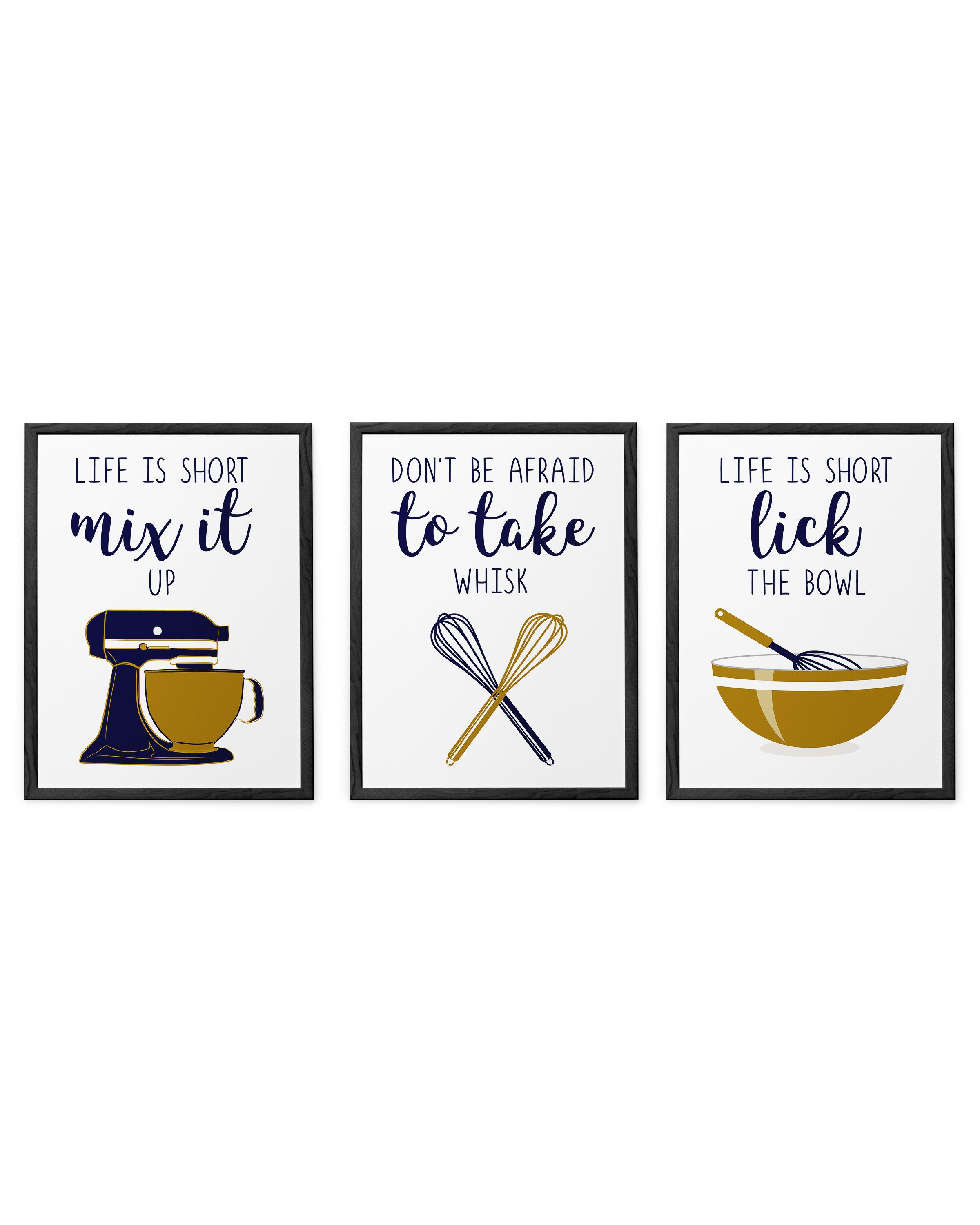 Navy Funny Kitchen Prints Navy Gold Kitchen Decor Navy Kitchen Posters Set Dining Room Wall Art Set Of 3 Prints Gold Kitchen Navy Kitchen Dining Room Wall Art Kitchen Prints