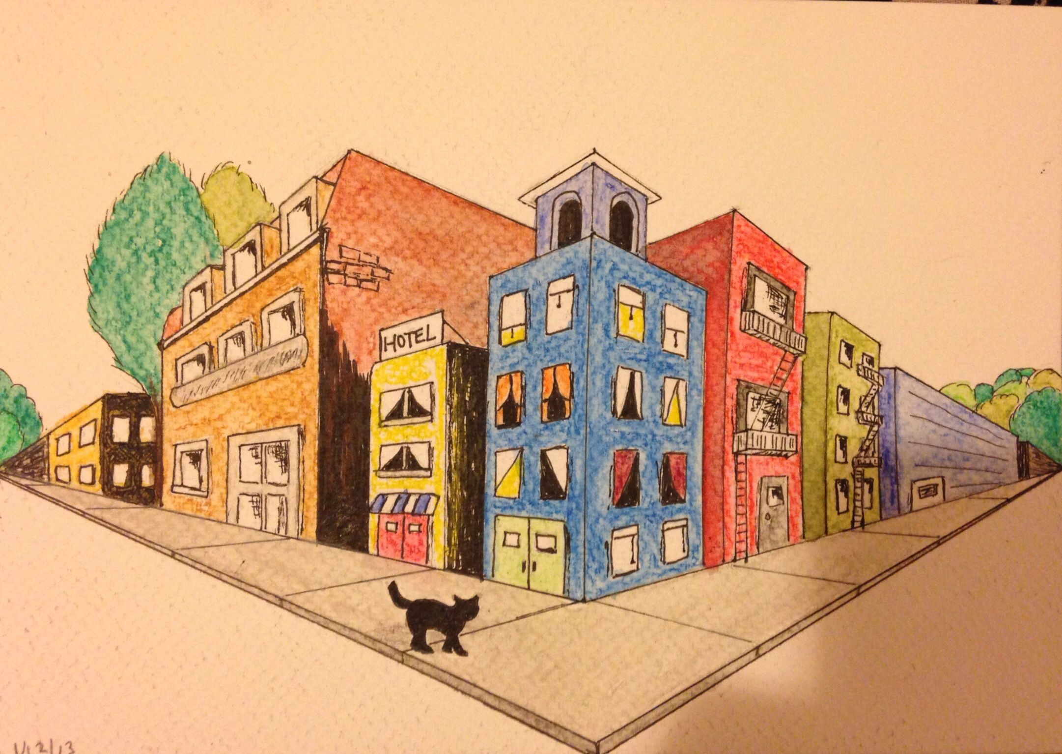 Cat Surveying A City My Attempt At Two Point Perspective Drawing