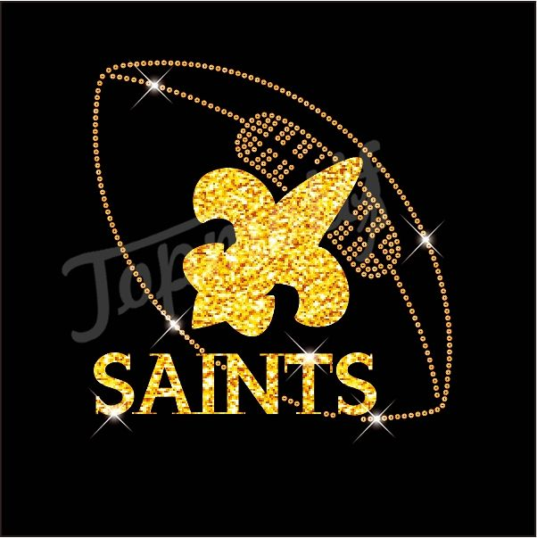 New iron on saints rhinestone glitter transfer wholesale