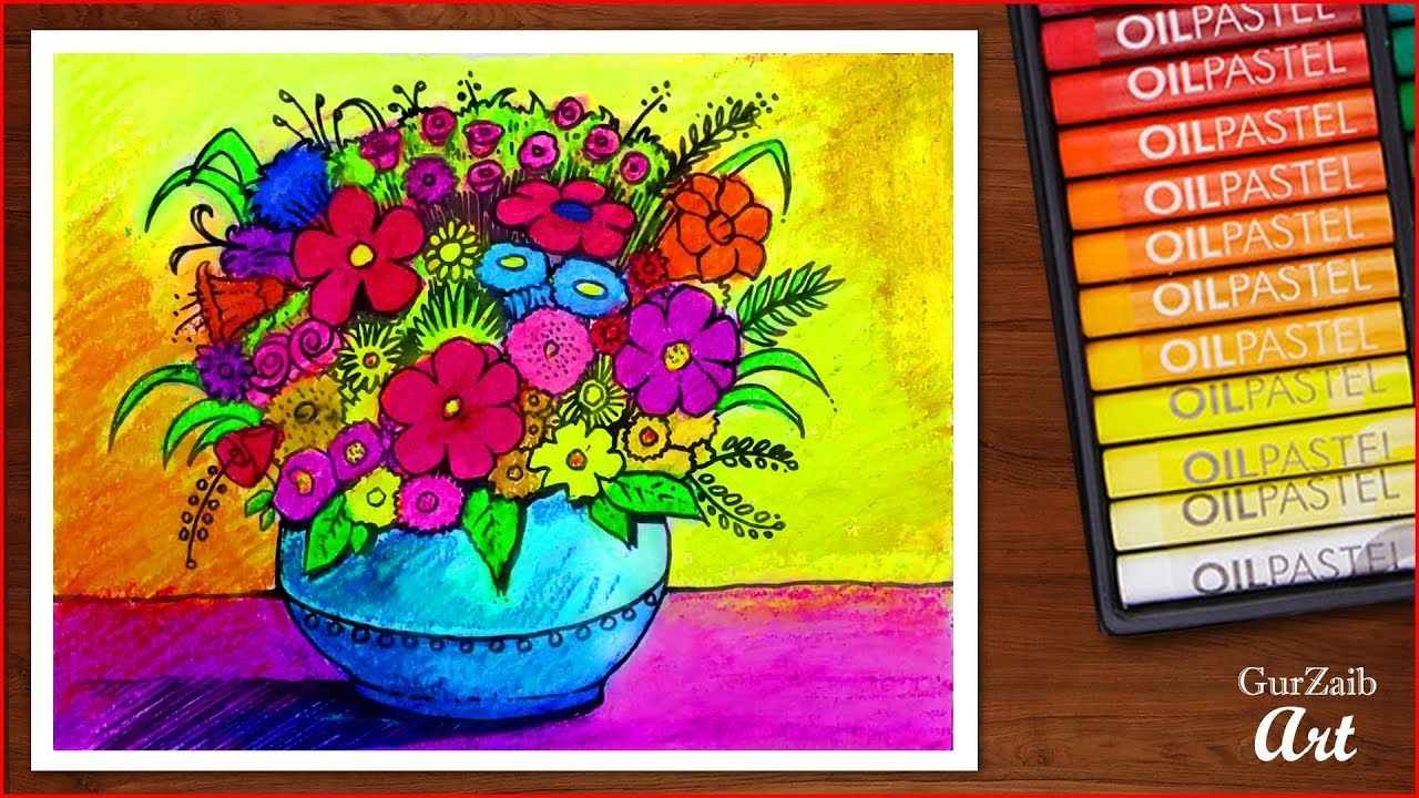 How To Draw Flower Vase With Oil Pastels Very Easy Drawing With Oil Pa Flower Drawing Oil Pastel Famous Flower Paintings