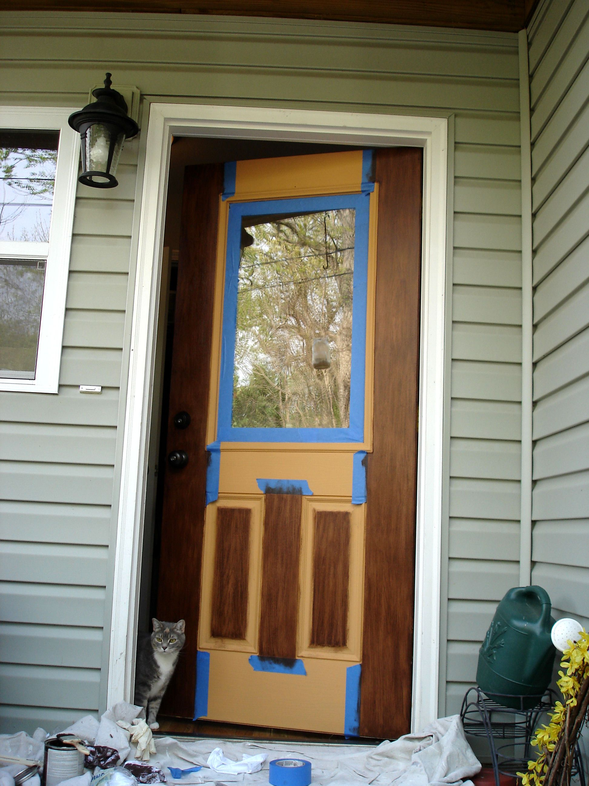 Great instructions on how to paint a faux wood door Great instructions on how to paint a faux wood door    DYI  . Painting New Steel Entry Doors. Home Design Ideas