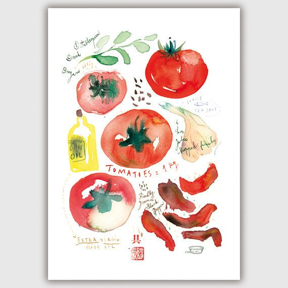 Oven dried tomato recipe watercolor painting vegetable print oven dried tomato recipe watercolor painting vegetable print italian food kitchen art forumfinder Gallery