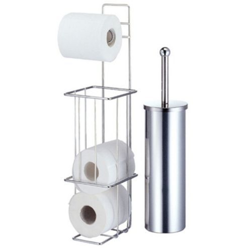 Chrome Toilet Paper Stand Free Standing Chrome Loo Toilet Roll Holder Stand New