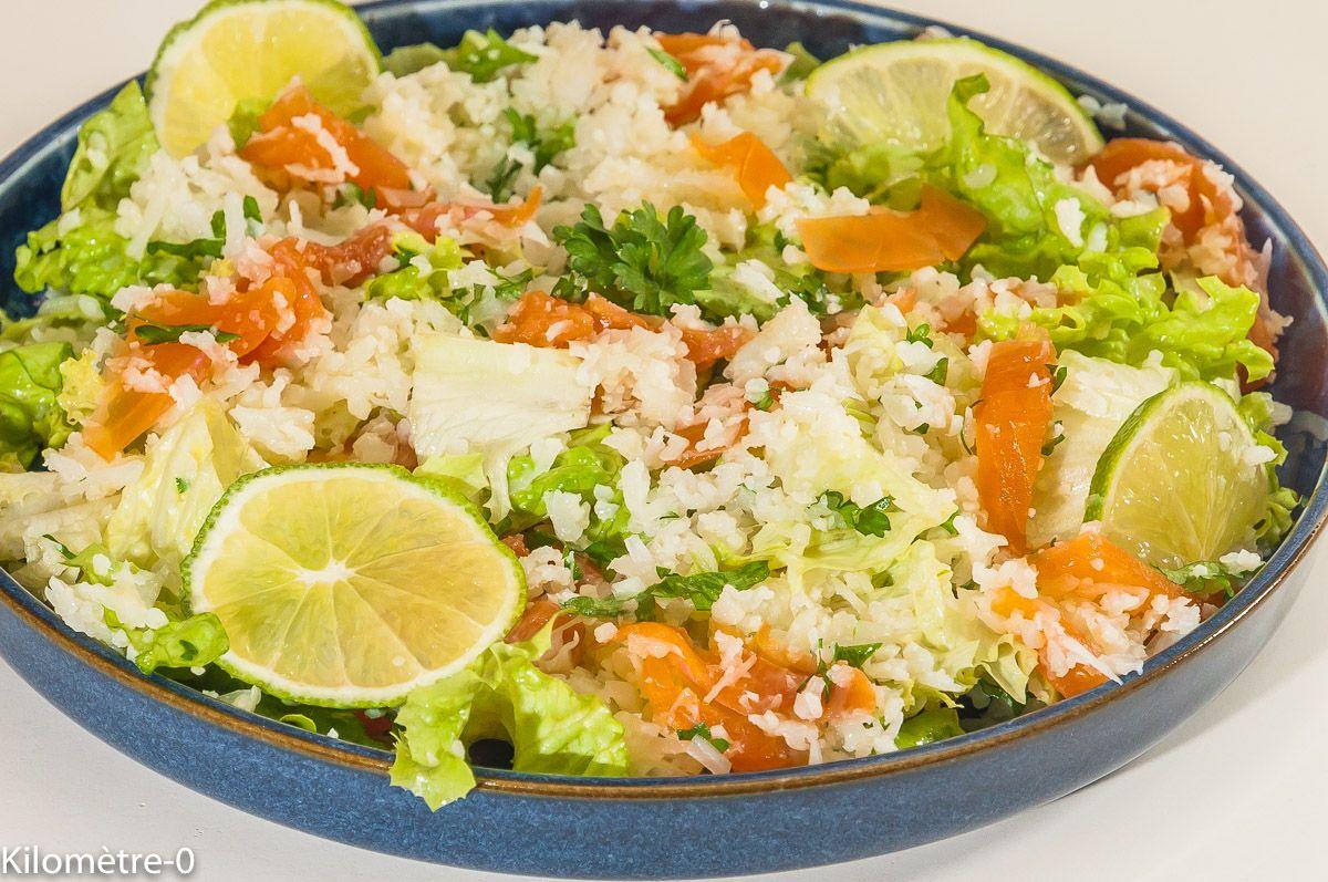 Photo de recette de taboulé de chou fleur, salade, saumon ...