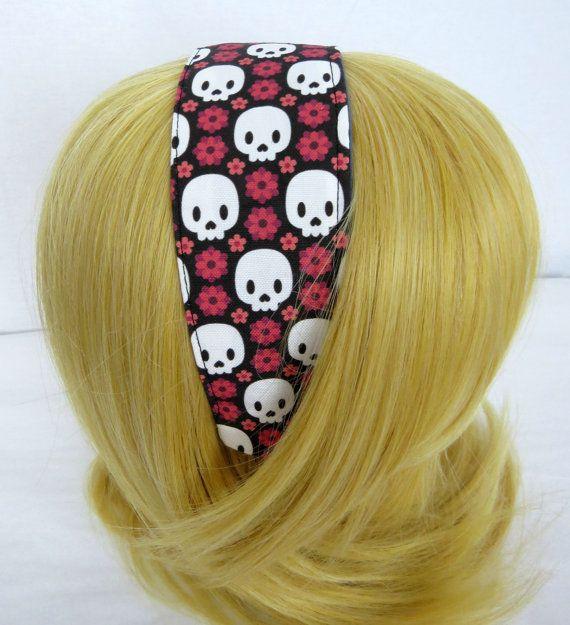 Skull Flower Headband by DisturbinglyAdorable on Etsy