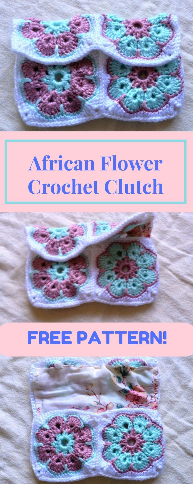 African Flower Crochet Clutch