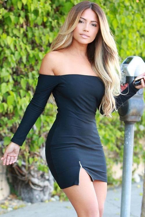 133db5e6c169 Black Off Shoulder Zipper Mini Dress   Gorgeous   Sexy, Bodycon ...