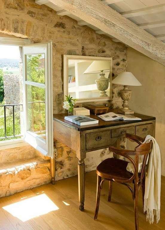 schreibtisch franz sicher landhausstil arbeitszimmer einrichten bistrostuhl provence. Black Bedroom Furniture Sets. Home Design Ideas
