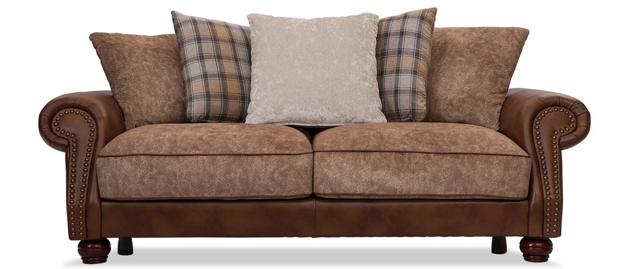 Elizabeth 3 Seater Fabric Sofa From Durian Is Adorned With Beautiful Brown  Fabric And Classic Style