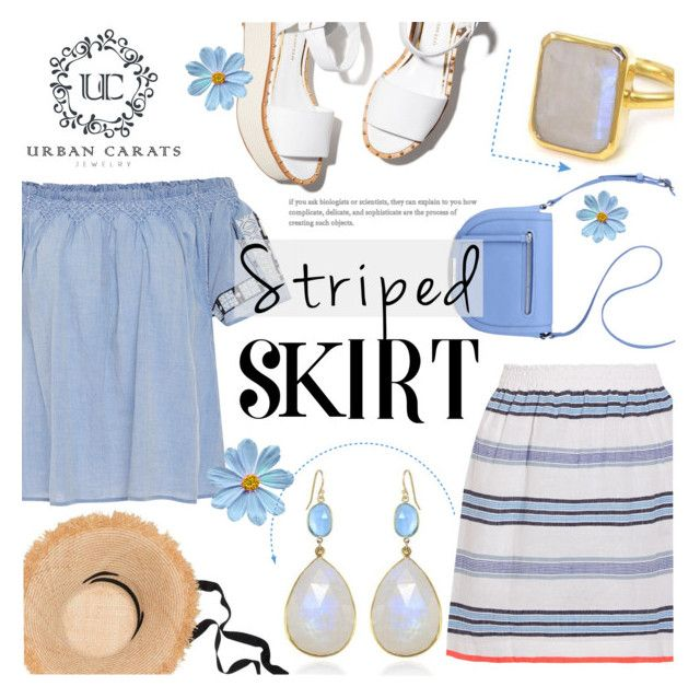 """Striped Skirt ~ Urban Carats Jewelry (#2)"" by alexandrazeres ❤ liked on Polyvore featuring Lemlem, Ulla Johnson, Paloma Barceló, Nine West, Lola, ring, jewelry, earrings, stripedskirt and urbancarats"