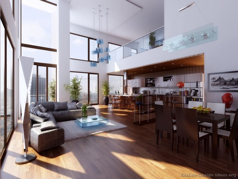 Kitchen Idea of the Day: Amazing open plan kitchen under a loft ...
