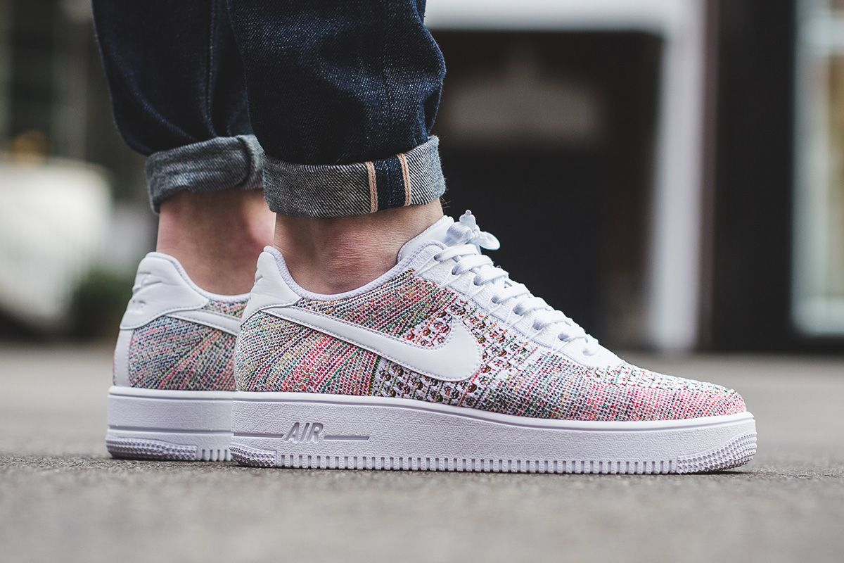 meet a4018 09662 ... Nike Air Force 1 Ultra Flyknit Low White Multicolor On Foot Nike Air  Force ...
