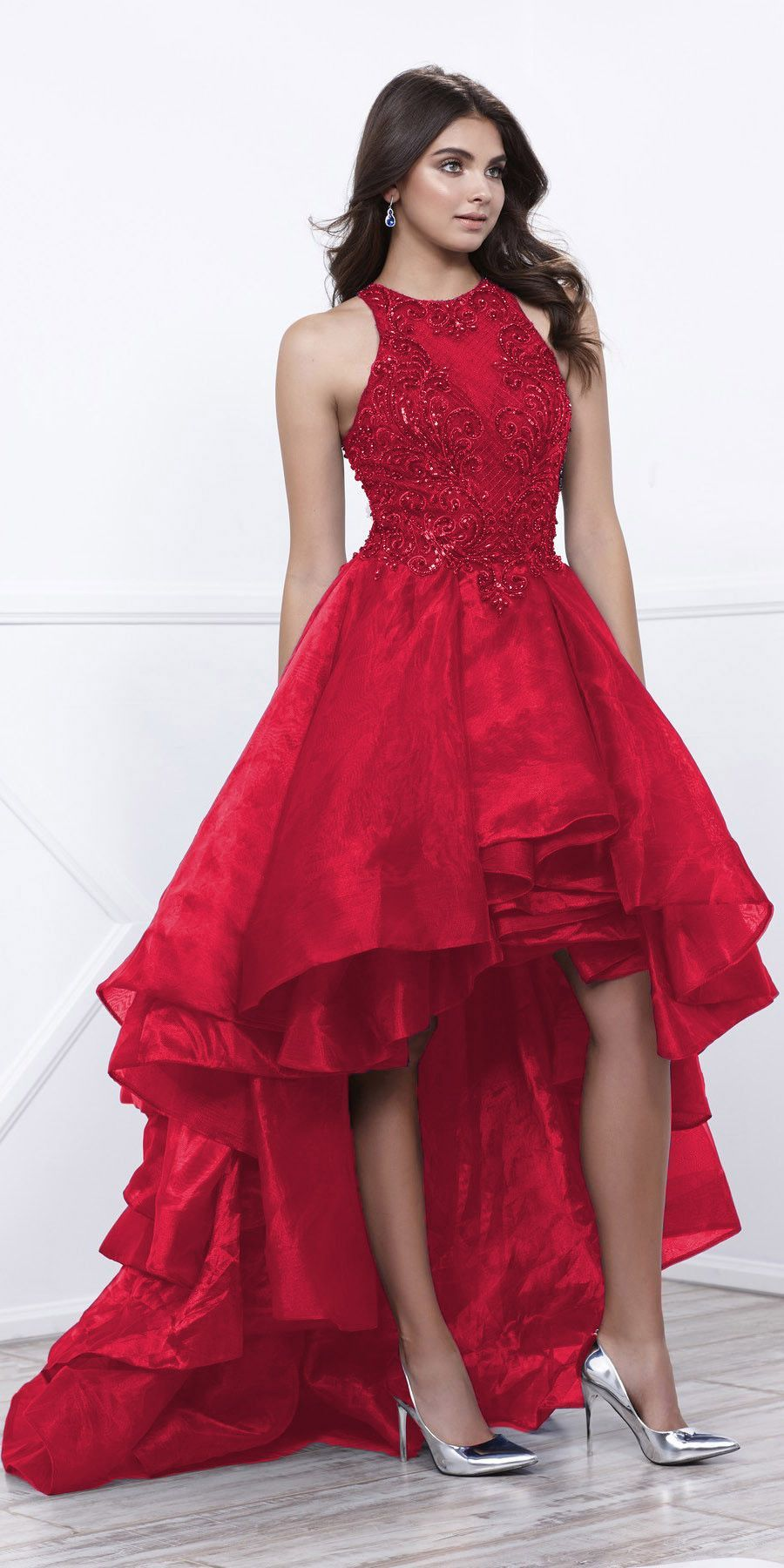 Burgundy High-Low Prom Dress with Bead Applique Bodice and Train