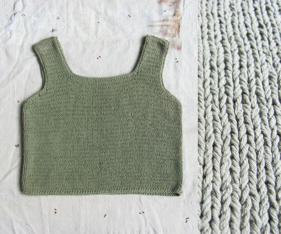 vintage c. 1980s sage chunky knit cropped tank by MouseTrapVintage, $36.00