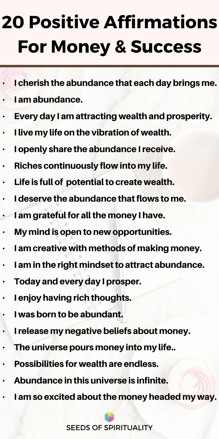 20 Positive Affirmations For Manifesting Money, Wealth & Prosperity (Law of Attraction Affirmations)