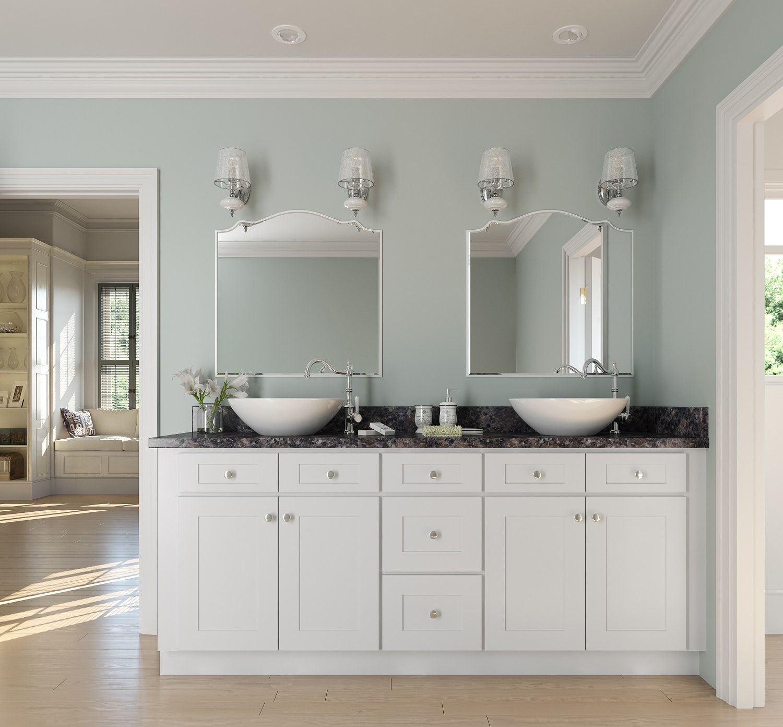 Arctic White Shaker  Ready To Assemble Bathroom Vanities &