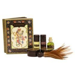 Kamasutra Weekender Kit by Kama Sutra. $18.89. Condom safe. Dermatologist tested. Hypoallergenic.. Set Contains: Original Oil of Love, Spearmint Pleasure Balm, Honeysuckle Honey Dust, Sweet Almond Massage Oil, Love Liquid Sensual Lubricant.. Made in the USA.. Don't let their size fool you; these luscious little luxuries pack a passionate punch. Packaged in a sleek box, this gift set is sized for a pocket, purse, or overnight bag, perfect for a romantic evening or weekend...
