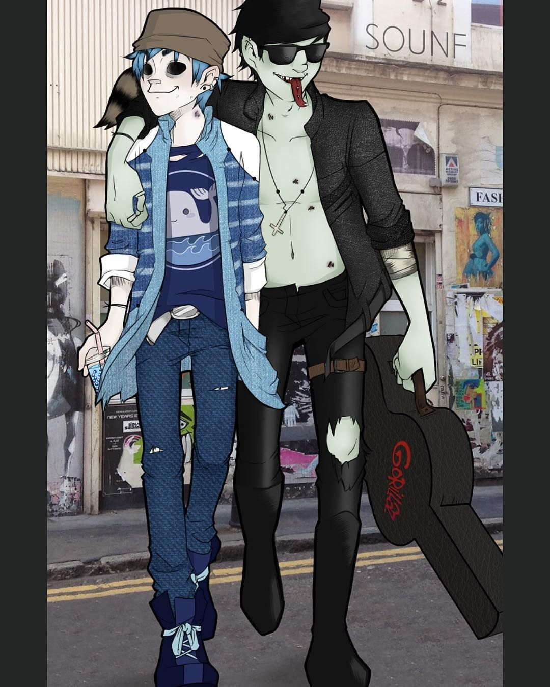 Ahhh my two favorite people on Gorillaz 2D and Murdoc  Creds to: Sounf  #murdoc…