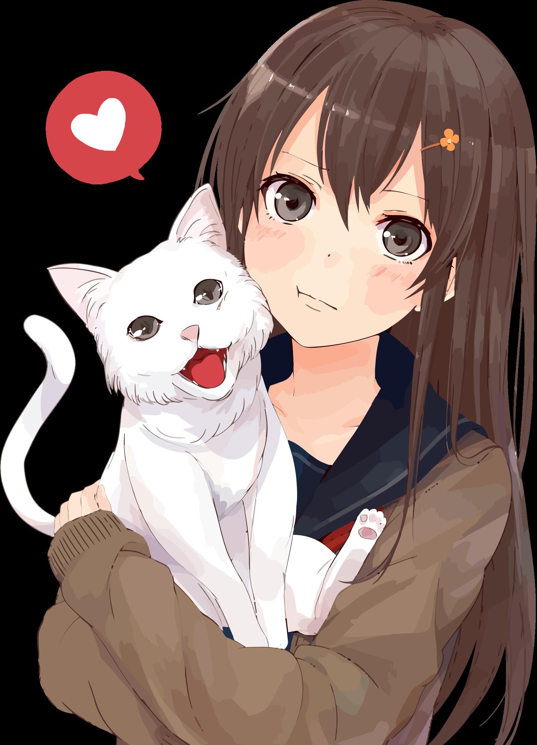 Girl with Cat Anime neko, Manga anime, Postacie z anime