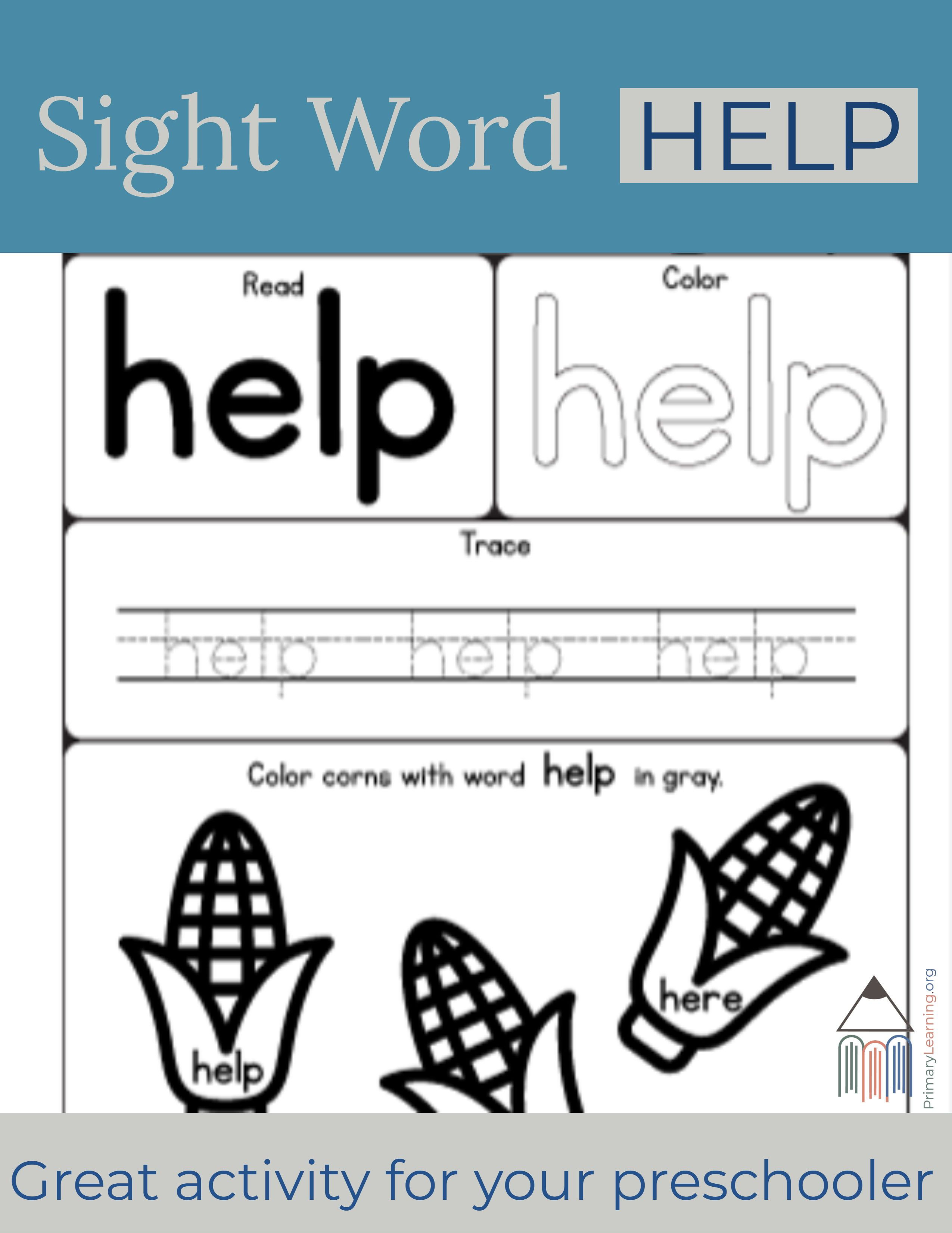 Sight Word Help Worksheet With Images
