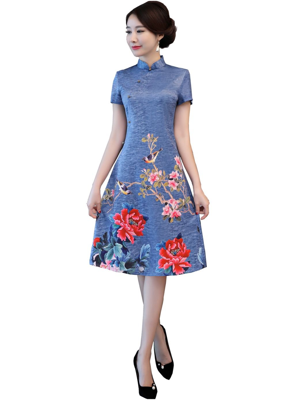 56eb9c347 Shanghai Story 2018 Qipao chinese Traditional dress Knee Length Cheongsam  Oriental Style Dress Chinese Women's Clothing-in Cheongsams from Novelty &  Special ...