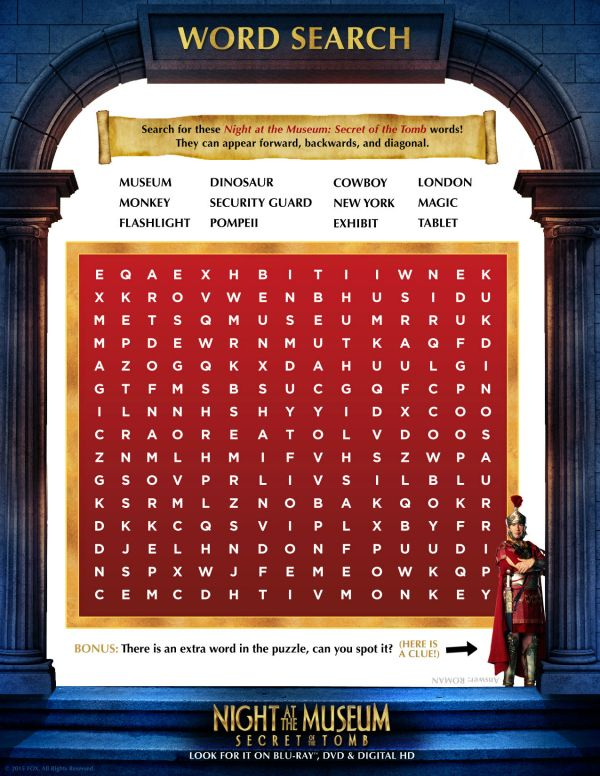 Free Printable Night at The Museum Word Search | Printable Coloring ...