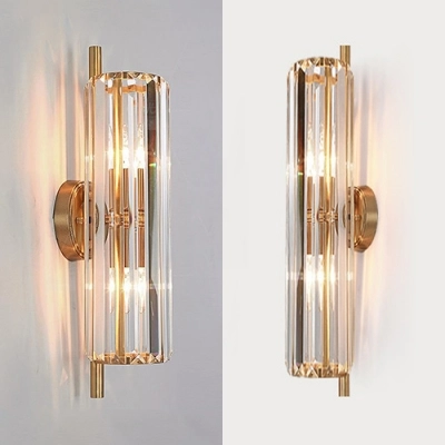 Luxurious Gold Wall Light Flute Shape 2 Heads Metal Striking Crystal Wall Sconce For Kitchen In 2020 Gold Wall Lights Crystal Wall Sconces Wall Lights