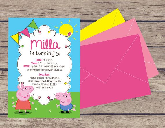 peppa pig party invitations & decor on etsy, $30.00 | peppa pig, Party invitations